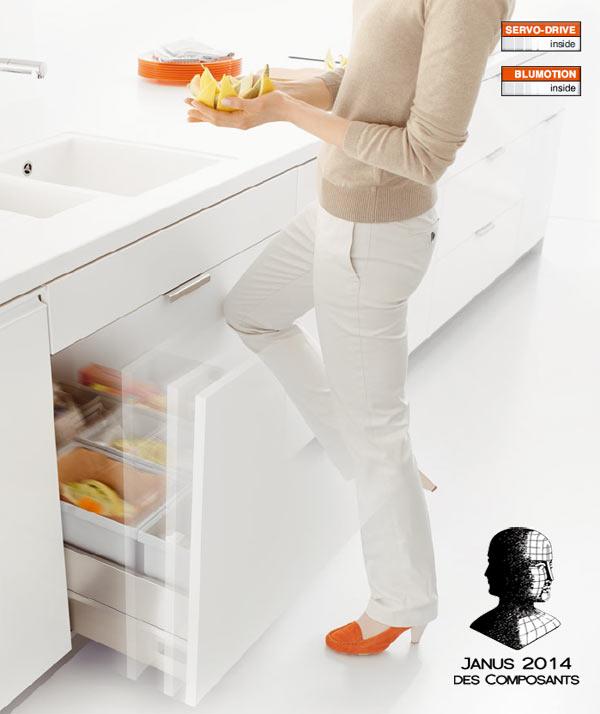 Blum servo drive l ouverture lectrique de vos tiroirs for Commande meubles concept