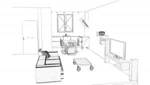 Les proportions entre le salon et la cuisine ne me gênent pas pour une pièce de 29m2