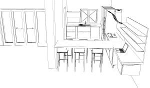 Le meuble suspendu à l'entrée permet de maintenir le plan du bureau et allège le tout.