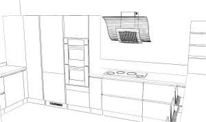 Un meuble à épices/bouteilles de 30cm permet de décaler la plaque de cuisson de la  colonne fours