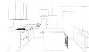 Le frigo 'empiète' sur l'ouverture actuelle, un habillage placo permettra d'avoir le mur aligné sur toute la longueur jusqu'au frigo.