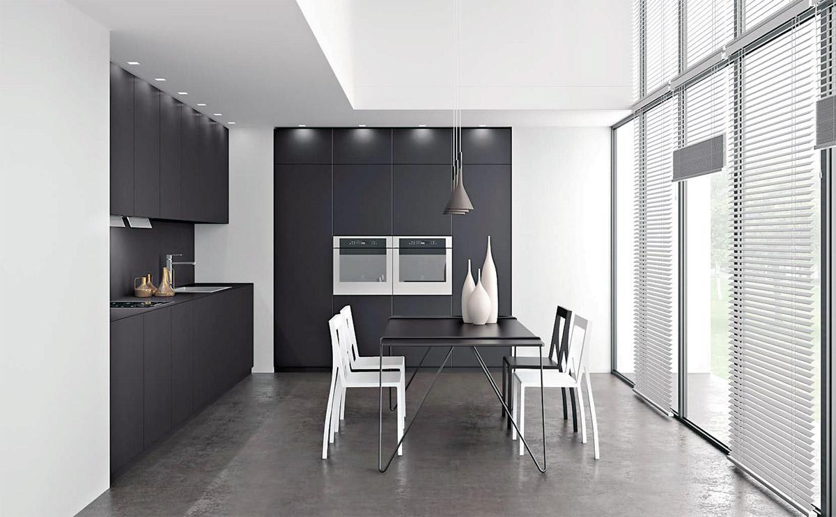 amazing composition duune cuisine en fenix noire mate crdence plan de travail with fenix plan de. Black Bedroom Furniture Sets. Home Design Ideas