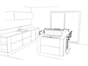 Un meuble de 90cm et 2 meubles de 15cm épices/bouteilles composent l'îlot central