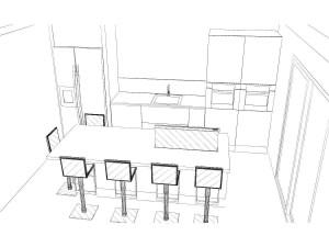 Le frigo américain est encastré dans une niche en placo avec une largeur suffisante sur la gauche pour permettre son ouverture