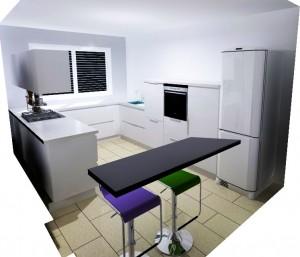 Le frigo se trouve dans l'angle gauche pour une meilleure circulation dans la pièce