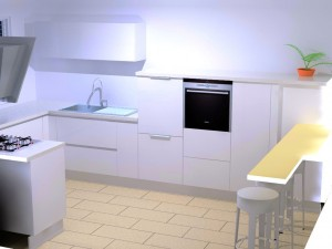 L'évier avec un meuble haut et le lave-vaisselle surélevé sur sa droite.