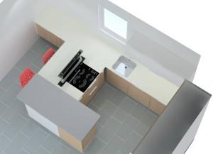 Il est impossible de placer la hotte dans le meuble sous la plaque celle-ci occupe en effet la quasi totalité du meuble en surface.