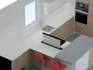 Un meuble de faible profondeur doit être ajouté devant les tabourets pour y placer la hotte et son moteur