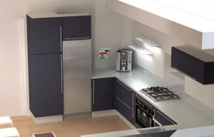 Le meuble haut demandera une joue de finition à droite du frigo pour pouvoir être fixé.