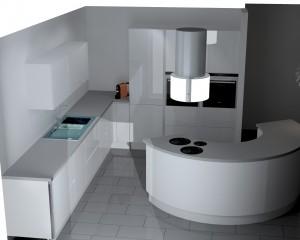Meubles colonnes frigo + four + micro-ondes.