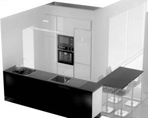 Il sera possible plus tard de placer un frigo encastré pour avoir un linéaire de colonnes