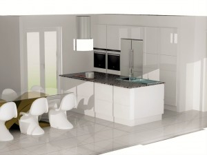 Ïlot central avec 2 rangés de meubles (largeur 118cm)