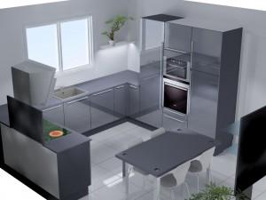 Etagère lumineuse apportant de la clarté dans  l'angle de la cuisine