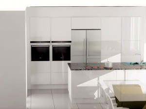 Mir de colonnes assymétriques avec frigo américain encastré.