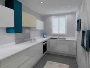Le meuble évier d'angle permet d'avoir un liénaire de façades homogène