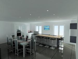 Dans cette composition la table doit se trouver entre la cuisine et le salon.