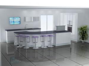 Le meuble à droite permet de reprendre le support du plan de travail.