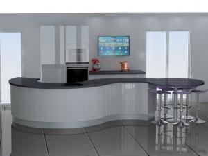 Le meuble arrondi de droite s'ouvre côté salon et pas côté cuisine.