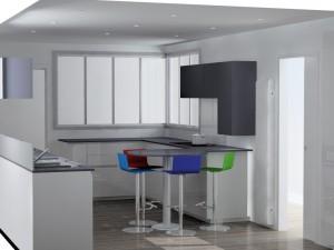 Le meuble haut côté table servira à stocker les éléments du petit déjeuner.