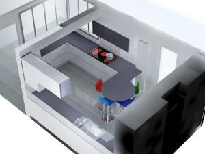 Il apparaît une problématique entre la table et le radiateur... il faudra opérer une découpe.