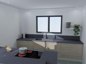 Linéaire composé uniquement de coulissants avec un meuble porte torchon.