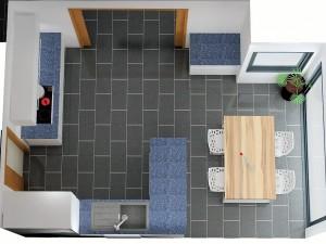 En diminuant le meuble sous évier, le passage du coin repas est bon mais on perd en plan de travail.