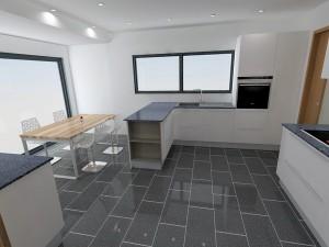 Dans cette configuration en 'L' avec la table à gauche l'évier est très proche du retour de la cuisine.