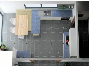 La place disponible par rapport à la baie vitrée et la cuisine est de 2.20m