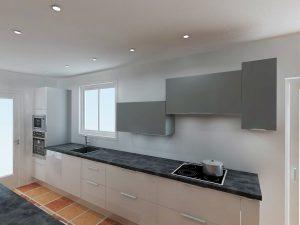 Le frifo se trouvera à gauche du meuble de cuisson, il s'agit de 2 façades que l'on vient plaquer sur le frigo pour l'habiller