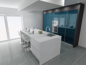 Îlot blanc et colonnes de cuisine laqué Blue Polvere