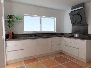 Afin d'agrandir la pièce on ne met pas de meuble haut, on peut par contre ajouter une tablette lumineuse en verre.