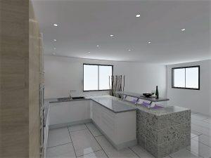 Lave vaiselles, meuble évier et meuble coulissant de 15cm formet la partie sous la fenêtre