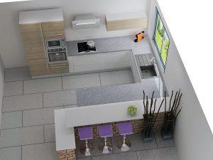 Cassure entre la cuisine et le salon tout en restant sur 2 pièces ouvertes