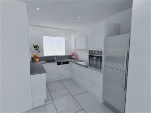 Meubles de faible profondeur du côté gauche de la cuisine