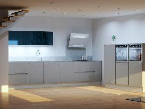Option avec meuble haut laqué bleu polvere