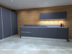 Le meuble haut ne comporte qu'une seule porte de 1.80m, le bas de ce meuble suspendu est composé de leds pour l'éclairage du plan de travail.