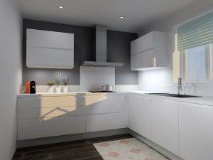 Coulissant épices de 15, lave-vaisselle, meuble évier de 60 et coulissnat de 60cm avec 2 tiroirs à l'anglaise (permet de garder une une uniformité de façade)