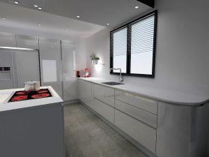 Le meuble sous évier est composé de 2 coulissants pour garder une continuité visuelle