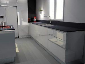Meuble 'Le Mans' + meuble poubelle + évier + LV + coulissants de 90cm pour ranger la vaisselle.