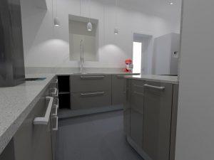 La niche sur mesure permet d'adapter parfaitement la largeur des éléments de cuisine.