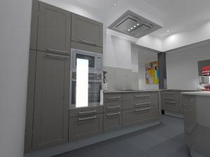 Etude avec le modèle Diadema qui possède des façades en surépaisseur couplé au modèle Ypsilon pour avoir des meubles arrondis.