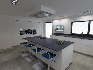 Afin de garder une distance suffisante par rapport à la plaque de cuisson, on place des meubles de faibles profondeurs côté snack.