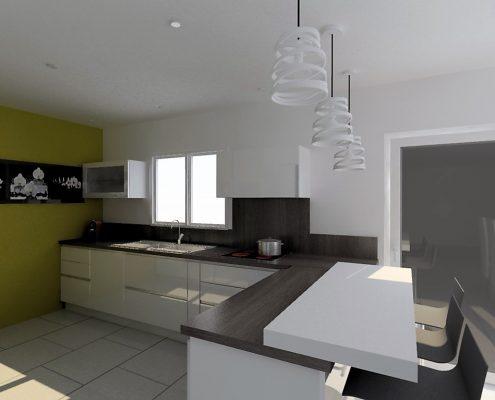 etude cuisine armony jarrie du blanc et une touche de jaune. Black Bedroom Furniture Sets. Home Design Ideas