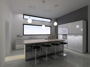 Le fait de laisser descendre des luminaires du plafond augmente encore la hauteur de la pièce.