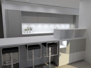 Afin d'éviter d'avoir une symétrie de meubles ouverts la composition comprend des éléments fermés, notamment sur la partie basse.