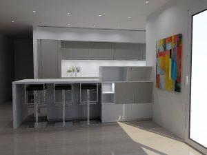 La structure côté salon alterne éléments ouverts et fermés et joue reprend le code couleur  sur un meuble le code couleur des meubles du fond.