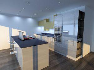 Meuble colonne terminal ouvert permettant de créer une continuité entre le salon et la cuisine