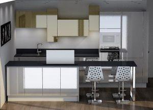 Le jaune des meubles hauts permet d'apporter la touche de couleur dans la cuisine.