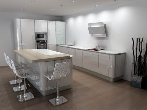 Cuisine armony courbe avec meubles bas terminaux de rayon 10.1cm