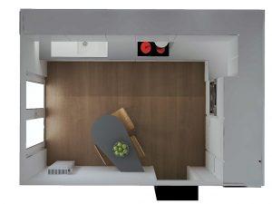 3. L'espace entre la table et le coin repas fait au minimum 1.10m... le passage est assurée sans problème.